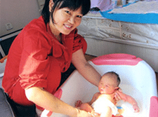Confinement Nanny Singapore ADA Bathing New Born Baby