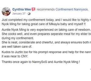 Confinement Nanny Review By Cynthia